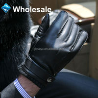 Mens cheap genuine deerskin buckle gloves, leather prices