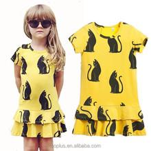 SFK150734 Europea 2015 High Quality Short Sleeve Cartoon Cotton Dress Lovely Girl Cat Dress