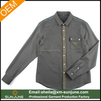 Solid color long sleeve wool cotton blend shirt