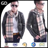 GDMM0183 Direct Manufacturer Diagonal Tartan Soft Good Quality khaki Knitting winter scarf for Man