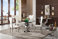 304 Stainless Steel Round Dining Table with Upholstered Side chair, Metal Dining Room Furniture
