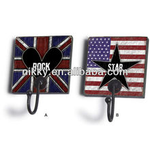 Heart-shaped metal retail hook,American flag decorative picture hanging hooks
