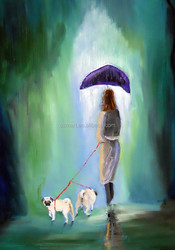 in the rainy day beautiful lady is take two dogs walking on the road 100%handmade classic decoration oil painting in canvas