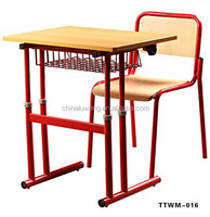 Commercial metal frame cheap price wooden middle school student desk and chair