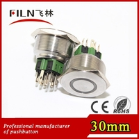 Panel hole 30mm flat head machine operating solder pin 10 pin push button switches suppliers