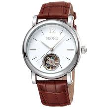 skone Genuine leather strap automatic mechanical watch men chinese tourbillon mechanical watch movement