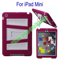 2 in 1 Silicon Plastic Case Cover for iPad Mini 2 with Holder (Rose+White)