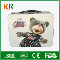 Bear Printed Tin Box For Lunch Packing