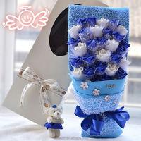 New artificial bear wedding rose flower Christmas gift decoration