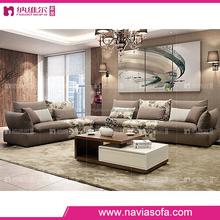 Living room furniture modern sectional 5 seat fabric sofa set designs with ottoman fabric sofa