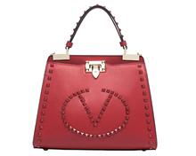 rock stud genuine leather tote lady bag 2015