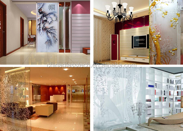 Novel Design Customized Decorative Tempered Art Glass Living Room Partition Wall View Living