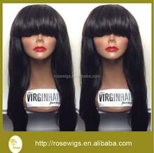 7A Best Quality 180% Density Straight Glueless Full Bangs Full Lace Wig Human Brazilian Virgin Hair For Black Women