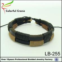2014 pulseras de moda de de cuero, ajustable de pulsera para hombres, hecho a mano en china, doble capas de cuero braclet