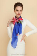 China factory cheap wholesale lady fashion multicolor infinity printed long silk scarf