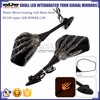BJ-RM-065 Black Skull Hand Intergrated Turn Signal LED rearview mirror motorcycle