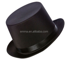 2015 hot sale black round top hat high quality flat top fedora hat HT8484
