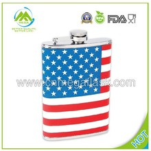 Maxam 8oz SS Hip Flask with Usa Flag Wrap