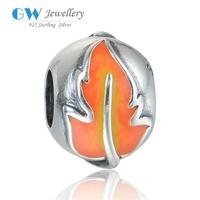 Fashion Red Maple Leaf Enamel Beads For Bracelet 925 Silver