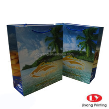 2015 New tropical style paper shopping bag with handle colouring printing