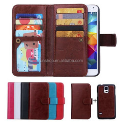 2015 New Practical Flip PU Leather Wallet Phone Case Cover with 9 Card Slot For Samsung Iphone