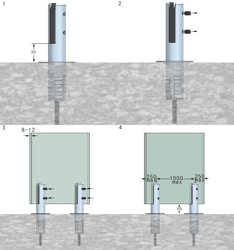 Bross core verre piscine cl ture embout en acier for Reduire profondeur piscine beton