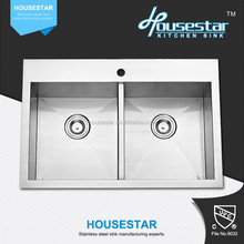 Housestar High Quality Handmade Double Bowl Kitchen Sink Above Counter For American Market -- TR3019(50/50)