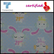 comic cartoon cute rabbit design printed on combed cotton satin weave smooth touch fabric in light weight making kid's clothing