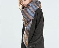 Winter Warm Brushed Cashmere Colorful Stripe Large Square Scarf Shawl