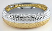oval styles gold plated food bowl with safety locking lid