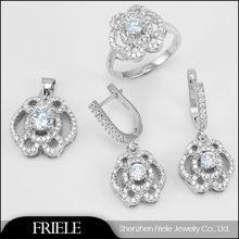 Dubai Gold Plated Wholesale Costume s925 Silver Jewellery Elegant Wedding Jewelry Set
