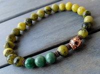 B15112121 Reiki Yoga Mala African Jade Yellow Turquoise Smoky Quartz Skull Beaded Mens Bracelet