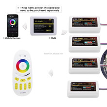 Newsest technology Ex-factory price RF Wireless RGB/RGBW 4-Zone Touch Mi.light Wifi LED controller for DC12-24V LED Strip