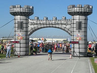 Medieval Road Race with Castle-Style Inflatable Arch Finish Line