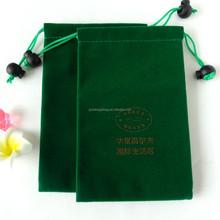 2015 Custom printed green velvet drawstring pouch fabric gift bags wholesale