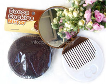 New design chocolate cookie makeup mirror with comb
