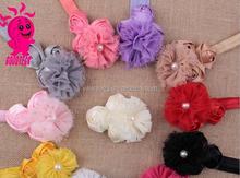 Wholesale elastic bead headband infant pearl beaded chiffon rose flower headband