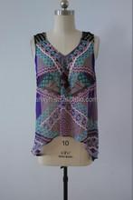 2015 New custom chiffon printed tank tops for women, OEM manufacturer