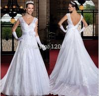 Custom Made vestido de noiva A-Line V-Neck Lace Wedding Dress amanda novias vestido de noiva sereia