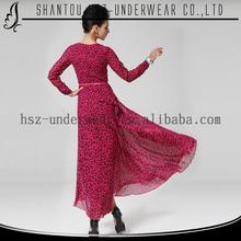 MD8029 2015 Spring summer muslim women abays plus size clothing leopard muslim long dress maxi chiffon dresses long sleeves
