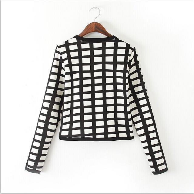 Женщины Винтаж плед растениеводство пальто короткая куртка с длинным рукавом и пиджаки без кнопки случайный casaco женственной casaco куртка топы CT713
