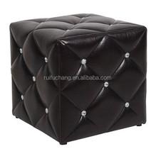 Ottoman with diamond buttons crystal,folding storage ottoman