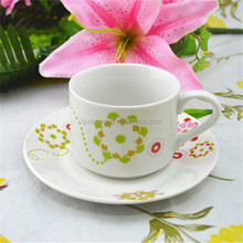 Ceramic promotional cup saucer with flower,espresso cup and saucer