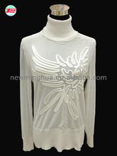 2014 femmes. dessins chandail de laine pour les dames, longues manches en dentelle motifirrégulier pull col haut