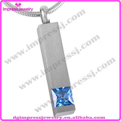 IJD8094 Colored stone rectangle cremation Jewelry urn Necklace,high quality pet Memorial Zircon inlaid Pendant