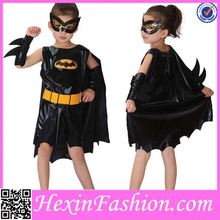 Wholesale Fashion Girls Black Bat Kids Party Costume for Halloween