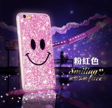 Smile Face Happy Bling Sparkling Sequin Textured Cover Glitter Phone Case for iPhone 6 Various Mobile Phone