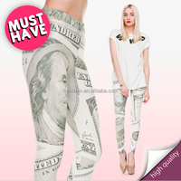 2015 New Fashion 3D Digital dollar cash money Printed Women Leggings For Fashion Dress