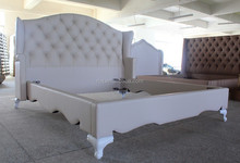 Noble white synthetic/genuine leather fabric bed of modern Dubai style general use for home and hotel