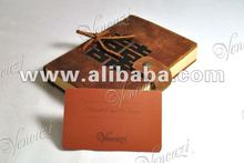 Natural Leather Button Cover Notepad / Journal - Double Happiness